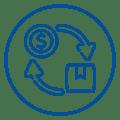 Ícone com sacola e moeda representando ciclo de compra-e-venda.