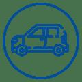 Ícone de carro de passeio, representando ações de drive-thru realizadas pelo Mercado Eletrônico em prol da vacinação contra gripe e dos testes rápidos de covid-19.