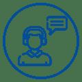 Ícone de pessoa utilizando headset e figura de balão de conversa, remetendo às lives realizadas com colaboradores do Mercado Eletrônico.