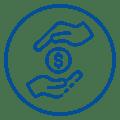 Ícone de moeda representando valores transacionais entre duas mãos, acima e abaixo da figura.