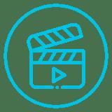 Ícone de claquete representando as ações de vídeos realizadas pelo Mercado Eletrônico em seu canal no Youtube.