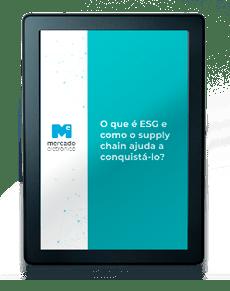 Kindle com a capa de um e-book na tela: O que é ESG e como o supply chain ajuda a conquistá-lo?
