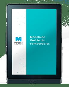 Kindle com a capa de um e-book na tela: Modelo de Gestão de Fornecedores